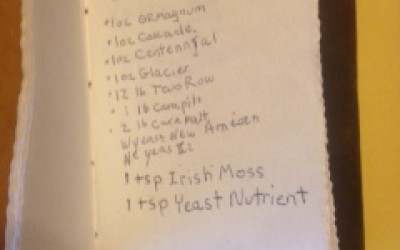 IPA recipe in a brewer's notebook.
